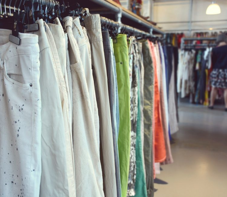Clothing in vintage clothing shop